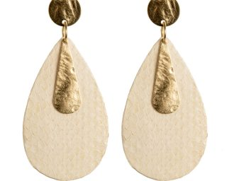 off-white and gold earrings made of snakeskin Federica