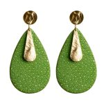 Shamrock green and gold earrings made of stingray leather Giulia